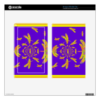 Golden Dragonfly s Purple Gifts Kindle Fire Skin