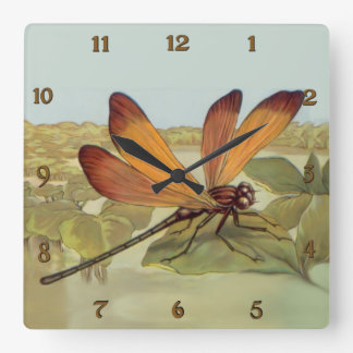 Golden Dragonfly Square Wall Clock