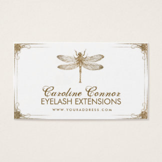 Golden Dragonfly Vintage Eyelash Extensions Card