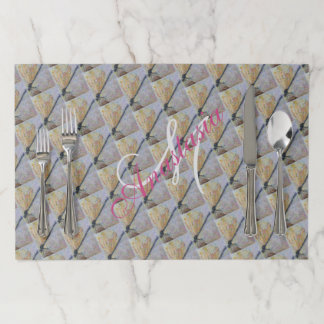 GOLDEN DRAGONFLY WINGS MONOGRAM PARTY PAPER PLACEMAT
