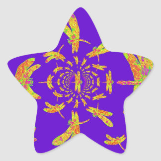 Golden Dragonfly's Purple Gifts Star Sticker