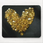 Golden Drawing Pins Heart Mouse Pad