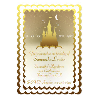 Golden Dreamy Castle In The Clouds Birthday Card
