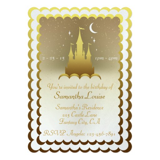 Golden Dreamy Castle In The Clouds Birthday Custom Announcements