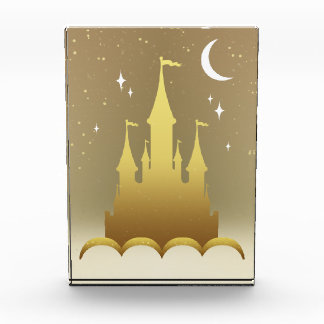 Golden Dreamy Castle In The Clouds Starry Moon Sky Acrylic Award