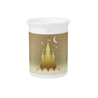 Golden Dreamy Castle In The Clouds Starry Moon Sky Beverage Pitcher
