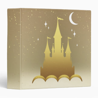 Golden Dreamy Castle In The Clouds Starry Moon Sky 3 Ring Binders