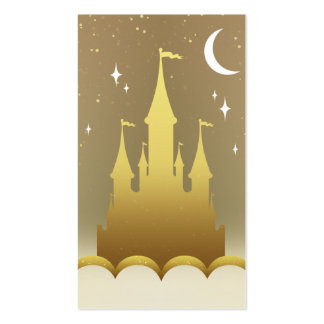 Golden Dreamy Castle In The Clouds Starry Moon Sky Business Card Templates