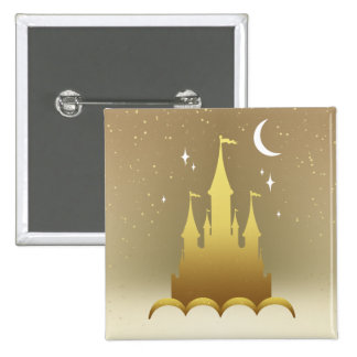 Golden Dreamy Castle In The Clouds Starry Moon Sky Button