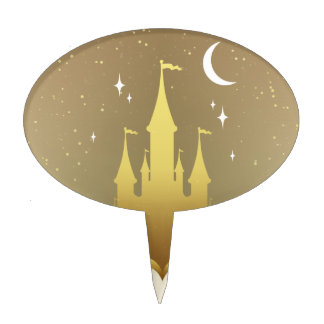 Golden Dreamy Castle In The Clouds Starry Moon Sky Cake Toppers