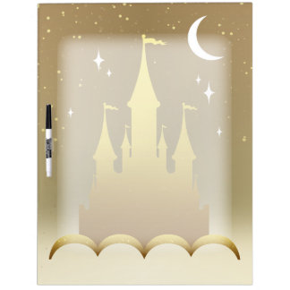 Golden Dreamy Castle In The Clouds Starry Moon Sky Dry Erase Board
