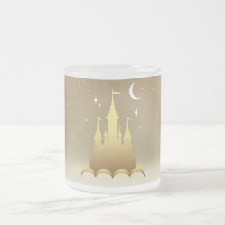 Golden Dreamy Castle In The Clouds Starry Moon Sky Frosted Glass Coffee Mug