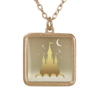 Golden Dreamy Castle In The Clouds Starry Moon Sky Gold Plated Necklace