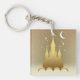 Golden Dreamy Castle In The Clouds Starry Moon Sky Keychain