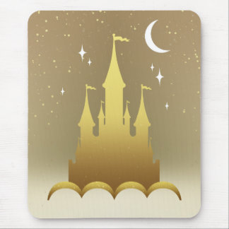 Golden Dreamy Castle In The Clouds Starry Moon Sky Mouse Pad