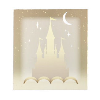 Golden Dreamy Castle In The Clouds Starry Moon Sky Memo Pads