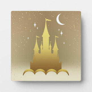 Golden Dreamy Castle In The Clouds Starry Moon Sky Photo Plaques