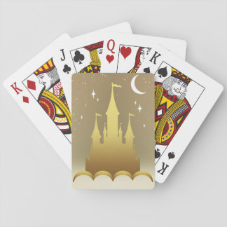 Golden Dreamy Castle In The Clouds Starry Moon Sky Playing Cards