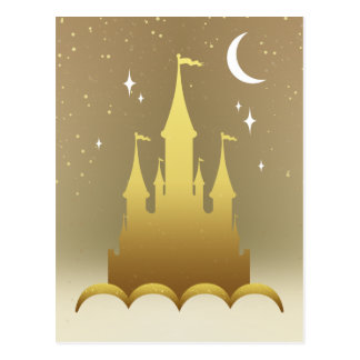 Golden Dreamy Castle In The Clouds Starry Moon Sky Postcard
