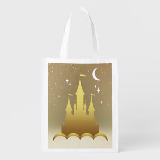 Golden Dreamy Castle In The Clouds Starry Moon Sky Reusable Grocery Bag
