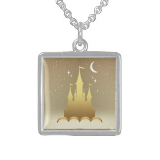 Golden Dreamy Castle In The Clouds Starry Moon Sky Square Pendant Necklace