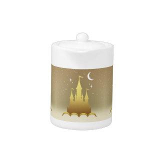 Golden Dreamy Castle In The Clouds Starry Moon Sky Teapot