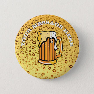 Golden drops and beer glass pinback button