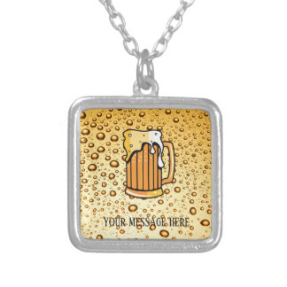 Golden drops and beer glass silver plated necklace