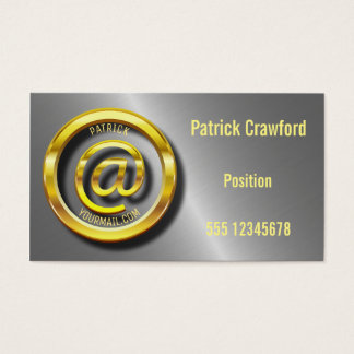 Golden E-Mail Symbol 3D Universal Business Card