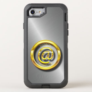 Golden E-Mail Symbol 3D With Shadows OtterBox Defender iPhone 8/7 Case