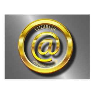 Golden E-Mail Symbol 3D With Shadows Postcard