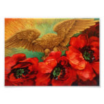 Golden Eagle and Poppies Vintage Photo Print