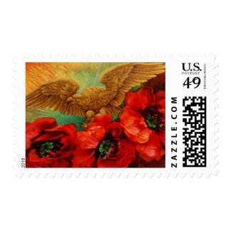 Golden Eagle and Poppies Vintage Stamps