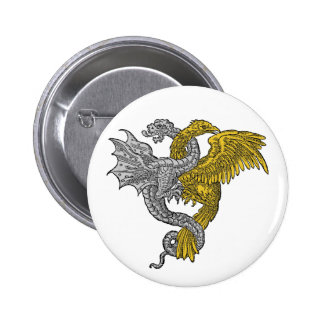 Golden eagle and silver dragon entwined pinback buttons