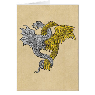Golden Eagle and Silver Dragon Entwined Card
