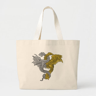 Golden eagle and silver dragon entwined large tote bag