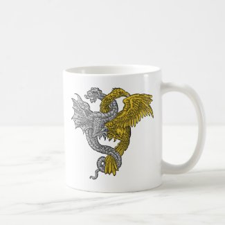 Golden eagle and silver dragon entwined coffee mugs