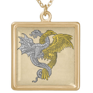 Golden Eagle and Silver Dragon Gold Plated Necklace
