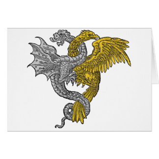 Golden Eagle and Silver Dragon in Conjunctivo Greeting Card