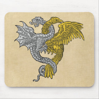 Golden Eagle and Silver Dragon Mouse Pad