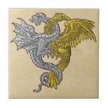 Golden Eagle and Silver Dragon Small Square Tile