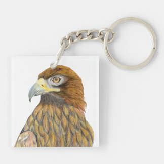 Golden Eagle Bird Watercolour Painting Artwork Keychain