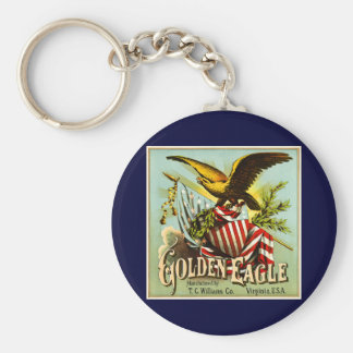 Golden Eagle Chewing Tobacco Label Vintage Key Chain
