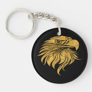 Golden Eagle Head Keychain