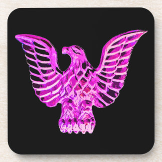 Golden Eagle in Pink, Lilac, Black Background Coasters