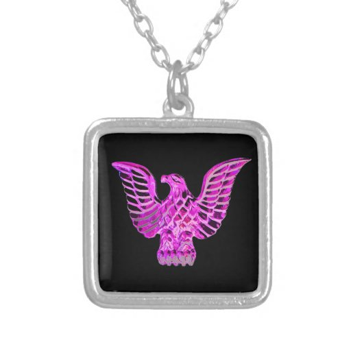 Golden Eagle in Pink, Lilac, Black Background Necklace