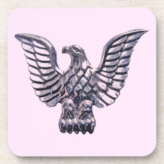 Golden Eagle on Pale Pink, Lilac, Mauve Background Coaster