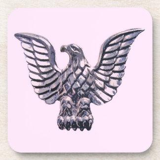 Golden Eagle on Pale Pink, Lilac, Mauve Background Drink Coasters