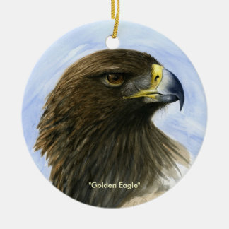 """Golden Eagle"" Ornament-watercolor painting Ceramic Ornament"