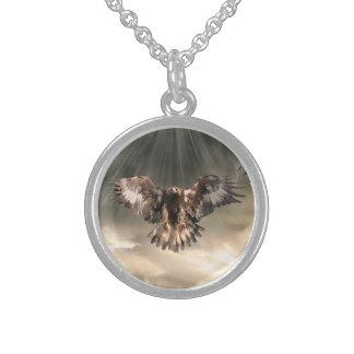 Golden Eagle Round Pendant Necklace